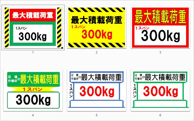 足場の最大積載荷重表示看板